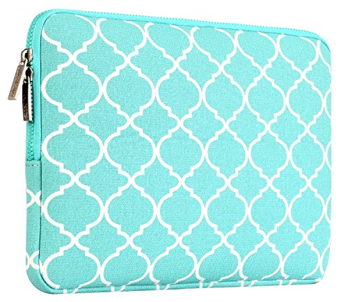 MOSISO Laptop Sleeve Bag Compatible 15-15.6 Inch MacBook Pro, Notebook Computer with Small Case, Quatrefoil Style Canvas Fabric Protective Carrying Cover, Hot Blue by MOSISO (Image #4)