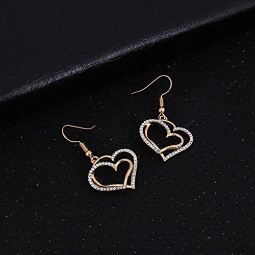 Cuekondy Women Girls Double Love Heart-shaped Rhinestone Statement Necklace Earring Set Wedding Bridal Charm Jewelry
