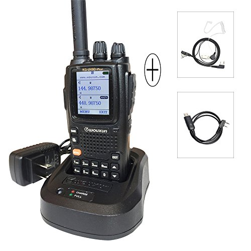 WouXun KG-UV9D Plus Two-Way Radio Dual-Band Walkie Talkie, 7 Bands Included Air Band, 136-174MHz/400-512MHz with Headset USB Programming Cable
