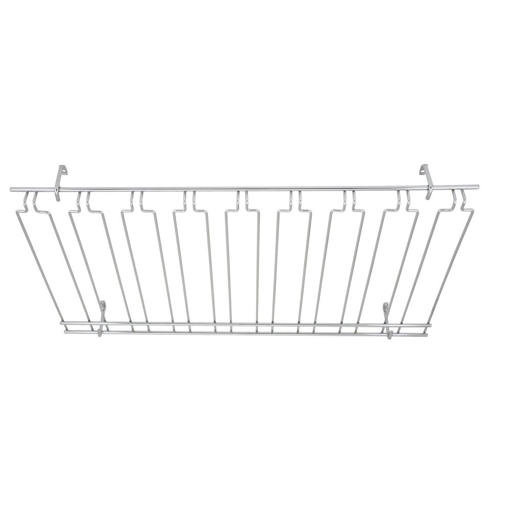 Winco GHC-1836, 18x36x4-Inch Overhead Glass Rack, 8 Channels Chrome Plated Bar Glass Holder, Stemware Rack