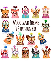 Woodland Animal Themed Party Hats Making Kit c/w Chenille Stems & Stickers. Group Activities, DIY Art Craft Home Project. Birthday, Christmas, Easter & Fiesta Decoration for Kid