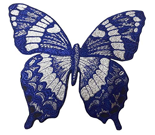 4 Piece Embroidery Iron On Appliques Blue Butterfly Motifs Craft Sewing Embroidery Patches