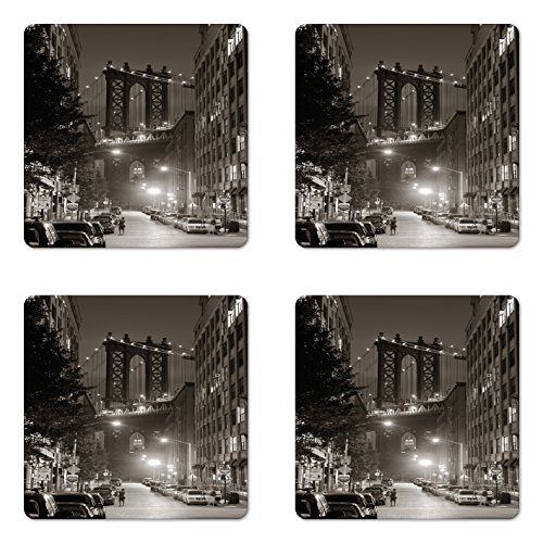 Lunarable Urban Coaster Set of Four, Manhattan Bridge from Street at Night Downtown New York States United States Photo, Square Hardboard Gloss Coasters for Drinks, Army Green