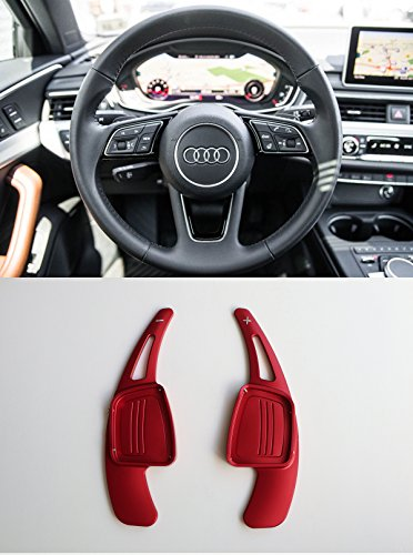 Pinalloy CNC Metal Red Alloy Steering Paddle Shifter Extension for Audi A3 A4L A5 Q7 TT TTS S4 Q2 S3 SQ 2016-2017