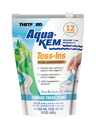 Thetford Aqua-KEM Powder Fresh Toss-Ins RV Holding Tank Treatment-Deodorizer-Waste Digester-Cleaner-12x1.5 oz Packets 36535, 12 Pack