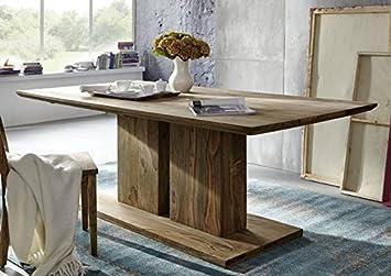 Säulentisch Holz sheesham massivholz massiv möbel geölt säulentisch 200x100