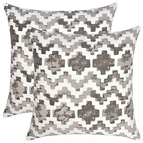 Bath Bed Decor Pack of 2 Accent Decorative Throw Pillow Covers Cushion Cases Cushion Covers Pillowcases in Cotton Canvas with Hidden Zipper Slipcovers for Couch Sofa Bed 18 x 18 Inches Shades of Grey ()