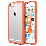 ULAK [CLEAR SLIM] iPhone 6s 6 Case Soft Silicone Gel TPU + PC Shock-Absorbing Scratch Proof Bumper Case Cover for Apple iPhone 6 6S (4.7 Inch),Crystal Clear/Blood Orange