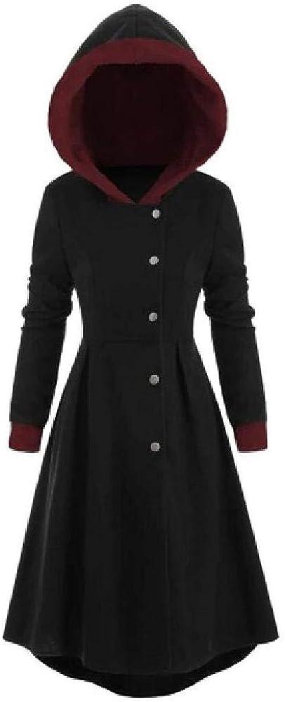 NOBRAND Mujeres Vintage CloakSnap Button Trim Long Skirted Hooded Coat Tops para Damas
