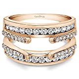 10k Rose Gold Combination Cathedral and Classic Ring Guard with Cubic Zirconia (0.49 ct. tw.)