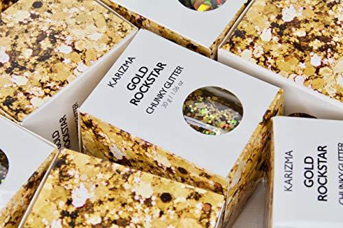 Gold Rockstar Chunky Glitter ✮Large 30g Jar COSMETIC GLITTER ✮ Festival Face Body Hair Nails by KARIZMA (Image #7)