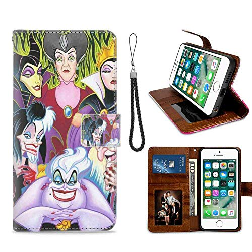 DISNEY COLLECTION Wallet Case Compatible with Apple iPhone 7 Plus (2016) and iPhone 8 Plus (2017) 5.5inch Cartoon Characters Disney Villains Ladies Sturdy]()