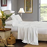 ELLESILK Pure Mulberry Silk Flat Sheet, Silk Bed Sheet, Premium Quality 100% Mulberry Silk, 22 Momme, Soft & Smooth, King/Cal.King Size, Ivory