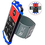 Cell Phone Armband for Workout Biking Walking for iPhone X 8 Plus 8 7 Plus 7 6 Plus 6 6S, Galaxy S8 S7 S5, Google Pixel, Adjustable Band Running Armand with Key Holder(Blue)