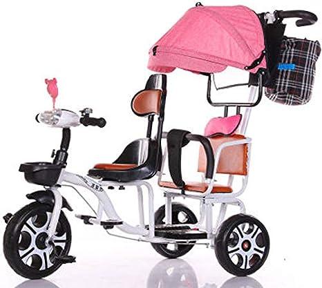 JHGK Triciclo Biplaza, Bicicleta Triciclo De Empuje A Dos Manos De Acero con Alto Contenido De Carbono Biplaza con Dosel Rosa/Cerca Normal/Luz, Tricycle para Niños,Blanco
