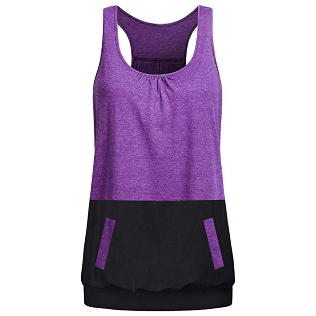 Women's Cami Tank, Sleeveless Round Neck Solid Color Loose Fit Racerback Yoga Workout Top Blous (XL, Purple)