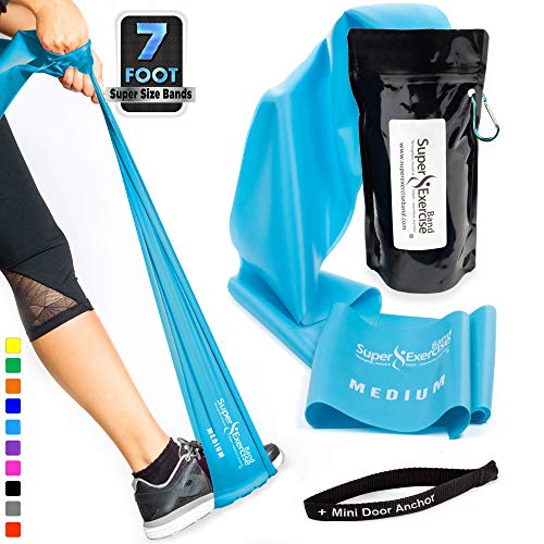 Super Exercise Band Medium+ Sky Blue 7 ft. Long Resistance Band with Mini Door Anchor, Carry Pouch. Latex Free Home Gym, Fitness, Strength Training, Physical Therapy, Yoga, Pilates, Chair Workouts.