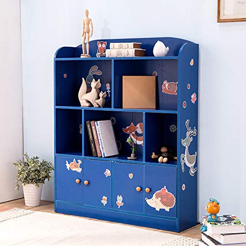 e Bookcase with DIY Sticker Book and Toy Storage Organizer Bookshelf with 4 Layers and Doors for Girls Boys Bedroom (Blue) ()