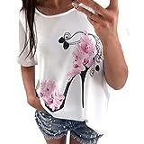 Serzul Women Blouse Summer Short Sleeve High Heels Printed Tops Beach Casual Loose Blouse Top Classic T Shirt
