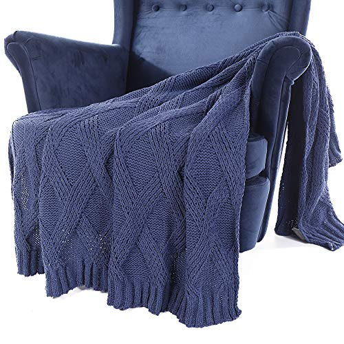 - Battilo Diamond Cable Knit Chenille Throw Blanket for Couch Chair Sofa,Soft Cozy Home Decorative Blankets for All Seasons, 50 x 60 Inch (Blue)