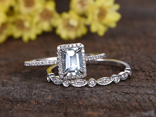 5x7mm Emerald Cut 1.1ct VS Natural Light Blue Aquamarine Solid 14k White Gold Claw Prong Diamonds Halo Engagement Ring Half Eternity Marquise Milgrain Art Deco Round Diamond Bridal Wedding Band - Aquamarine Set Round Wedding