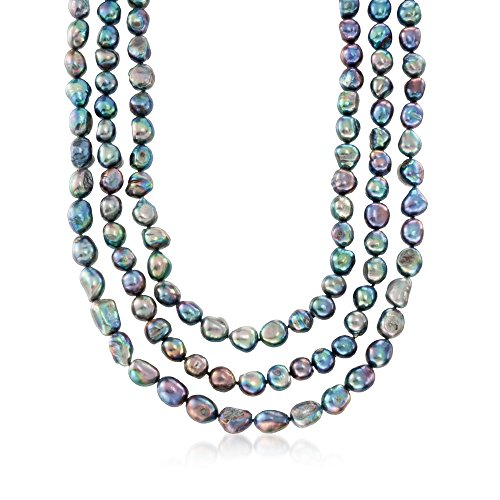 - Ross-Simons 10-11mm Black Cultured Baroque Pearl Endless Necklace