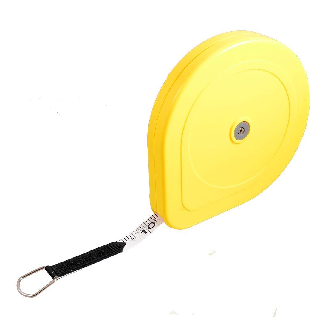 uxcell 20M x 13mm Metric Retractable Fiberglass Measuring Tape Ruler Yellow