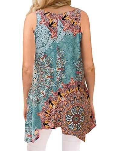 Luranee Hawaiian Shirts for Women, Girls Loose Fit Tank Tops Crew Neck Blouses Fancy Sleeveless Shirt Baggy Modest Morden Beautiful Chic Asymmetric Hem Business Outfits Green XXL by Luranee (Image #1)