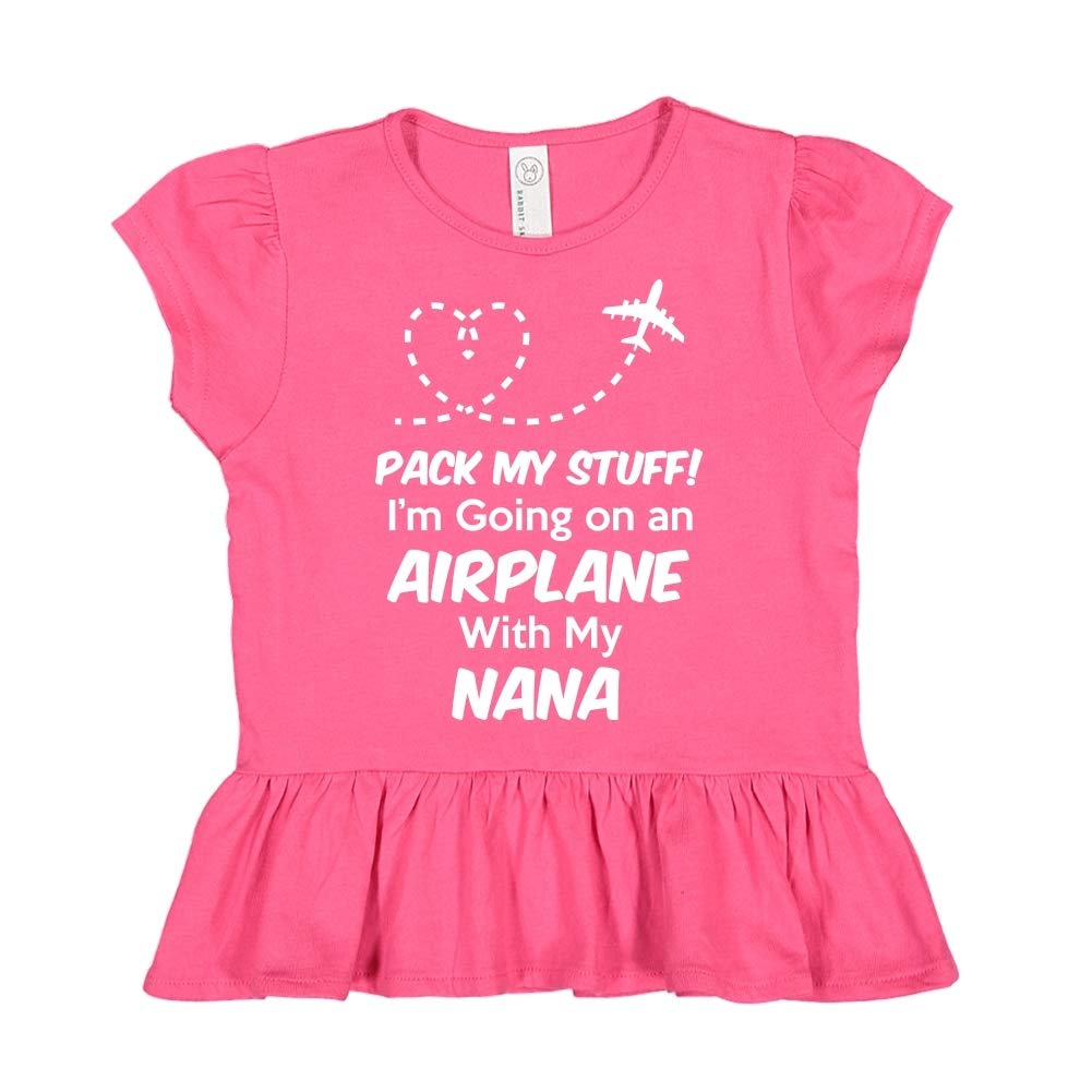 Pack My Stuff Im Going On an Airplane with My Nana Toddler//Kids Ruffle T-Shirt