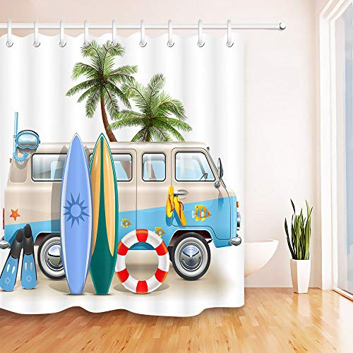 (youyoutang Hippie Surfer Beach Palm Tree Surfboard Shower Curtain Liner Waterproof Fabric 3D High-Definition Printing Does Not Fade 12 Shower Hooks 70.8X70.8 Inch Home Decor Bathroom Accessories)