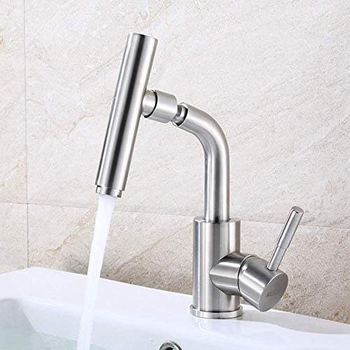 ZT-TTHG 実用的な蛇口が美しいミキシングバスルーム洗面台ステンレス鋼の360°回転可能な蛇口クリエイティブマイクの形温水と冷水の調整単穴