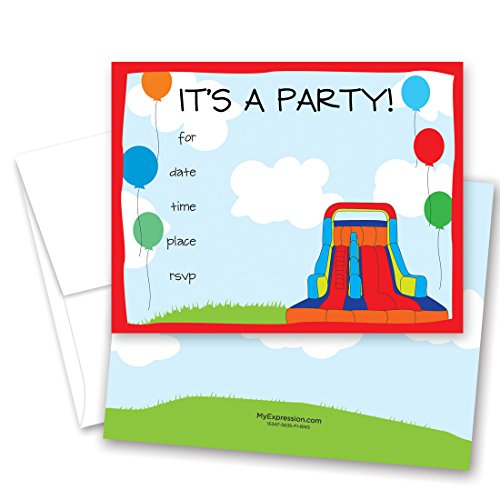 Beach Ball Invitation (24 Bounce House Fill-in Kids Birthday Party Invitations)