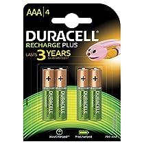 Duracell Plus Pilas Recargables AAA 750 mAh, paquete de 4