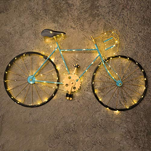 LZCYN Wrought Iron Bicycle Wall Decoration Creative Retro Industrial Wind Wall Hanging Dessert Tea Shop Decorations Bar Restaurant Wall Hangings (Color : Blue Lighted) (Bicycle Iron Wrought Art Wall)