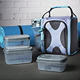 Fit & Fresh Jaxx FitPak Sport Insulated Meal Prep Lunch Bag with Reusable Portion Control Container Set and 20 oz. Shaker Cup (Pink Aqua Shape Shifter)