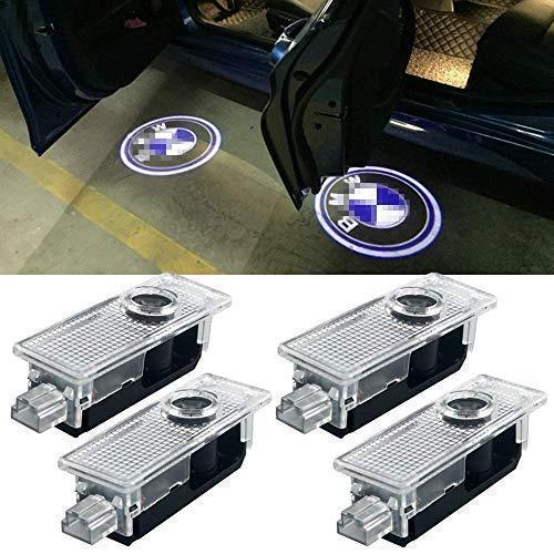 4 Pcs Car Logo Lights Ghost Light Door Light Projector Accessories Welcome Emblem Lamp for BMW Compatible 3/5/6/7/Z/GT/X Series