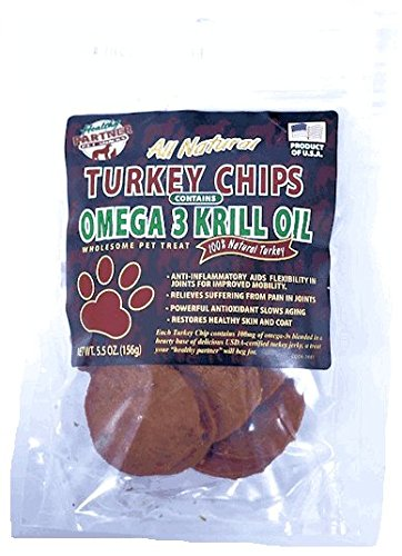 NATURAL DOG TURKEY JERKY CHIPS 5.5 OZ OMEGA 3 KRILL OIL MADE IN USA (3 BAGS) For Sale