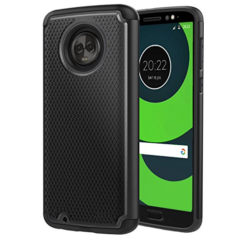 MoKo Moto G6 Case, Shockproof Dual Layer Protective and Rugged Hybrid Shell Heavy Duty Anti-Slip Hard Back with Football Shape Texture Design for Motorola Moto G6, Black