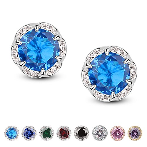 Jardme Crown Shape Crystal Round Earring Stud White Cubic Zircon Earring Stud For Party, Evening ()