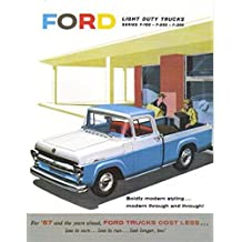 1957 FORD TRUCK & PICKUP BEAUTIFUL DEALERSHIP SALES BROCHURE - ADVERTISMENT - INCLUDES F-100, F-250, F-350, Ranchero, Flairside, Cabs, Courier, Parcel, Styleside, Panel, Stake. - 57