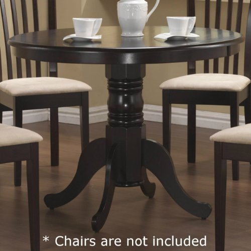 Coaster Pedestal Round Dining Table Cappuccino Finish (Kitchen Round Chairs Table With)