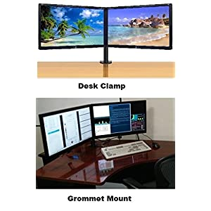"EZM Basic Dual Monitor Mount Stand Desk Clamp with Grommet Mount Option holds monitors up to 27"" widescreen Uses standard Vesa mount (002-0007)"
