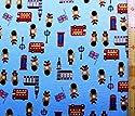 プリント生地・ロンドン ベア(ブルー) (イギリス 国旗 兵隊 クマ くま 熊 ベアー かわいい おしゃれ 男の子 女の子 子供 入園 入学 ピロル)