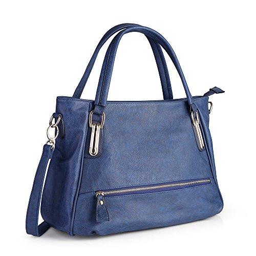 Women Handbag,Women Bag, Shoulder bag Zipper Pocket KINGH Tote Bags PU Leather 007 Blue