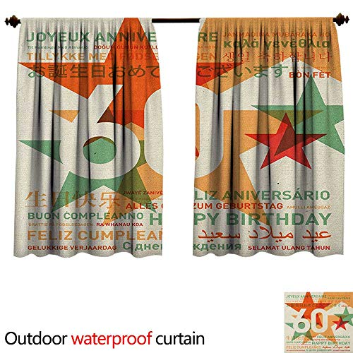 BlountDecor 60th BirthdayAnti-waterWorld Cities Birthday Party Theme with Abstract Stars Print W55 x L72(140cm x 183cm) Shade Curtain Outdoor Green Vermilion and White