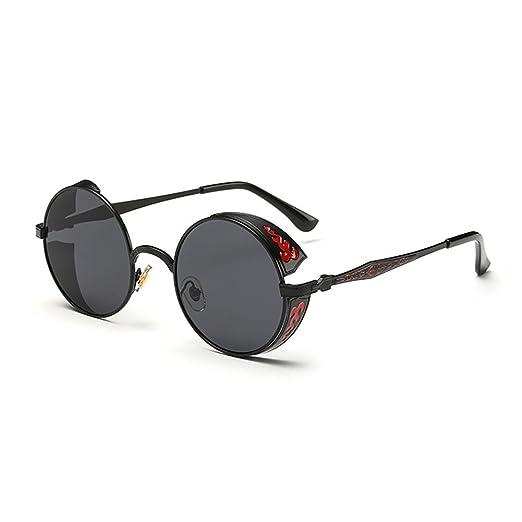 7f9a21d2058c Coolsunny Vintage Hippie Retro Metal Round Circle Frame Sunglasses CS1039 ( New Black-Gray