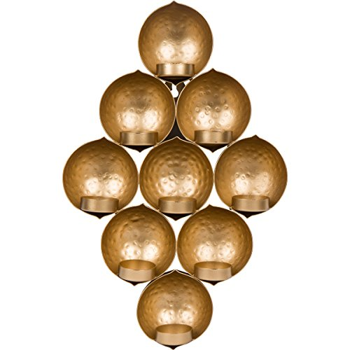 Planet Ethnic Metal Wall Mounted Tealight Candle Holder. Designer Unique 9 Leaf Hammered Finish. Handmade by artisans in India.