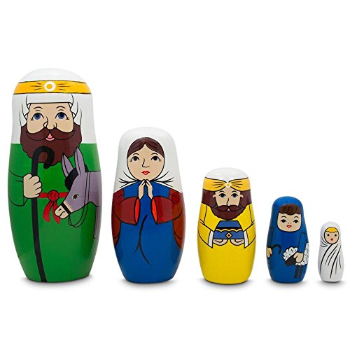 BestPysanky Joseph, Mary, and Jesus Nativity Scene Wooden Nesting Dolls 5.75 Inches