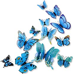 DaGou mixed of 12PCS 3D Pink Butterfly Wall Stickers Decor Art Decorations¡­ (Blue)
