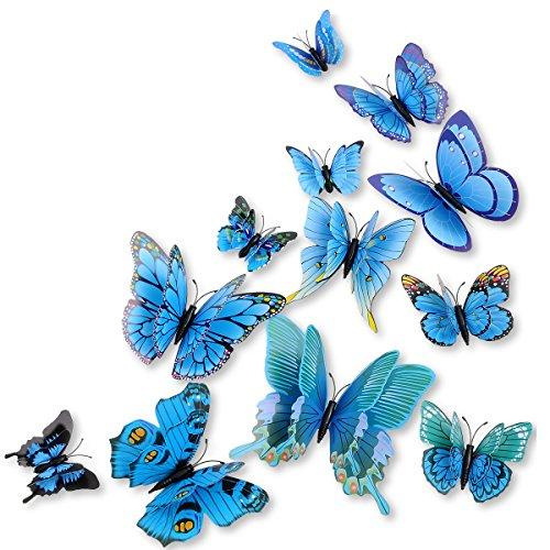 (DaGou Mixed of 12PCS 3D Pink Butterfly Wall Stickers Decor Art Decorations¡­ (Blue))